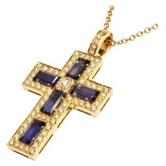 Iolite Baguettes and Diamonds Gold Cross Made in Italy