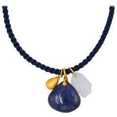 Iolite Blue Chalcedony Gold Drop 22 Karat Gold Pendant Necklace
