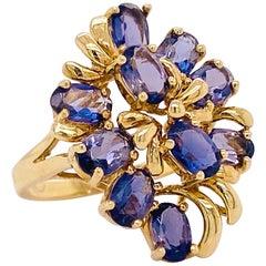 Iolite Cluster Ring, Estate Cocktail, Yellow Gold, Genuine Gemstone Cluster Ring