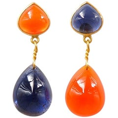 Iolite Cornaline Orange Chalcedony 22 Karat Gold Push Earrings