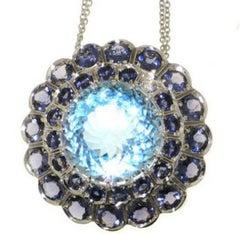 Iolite Sky Blue Topaz Diamond 18 Karat White Gold Necklace