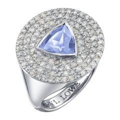 Iolite Trillion and Diamond Shield Ring