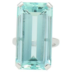 ION Atelier Emerald Cut Aquamarine Gold Cocktail Ring