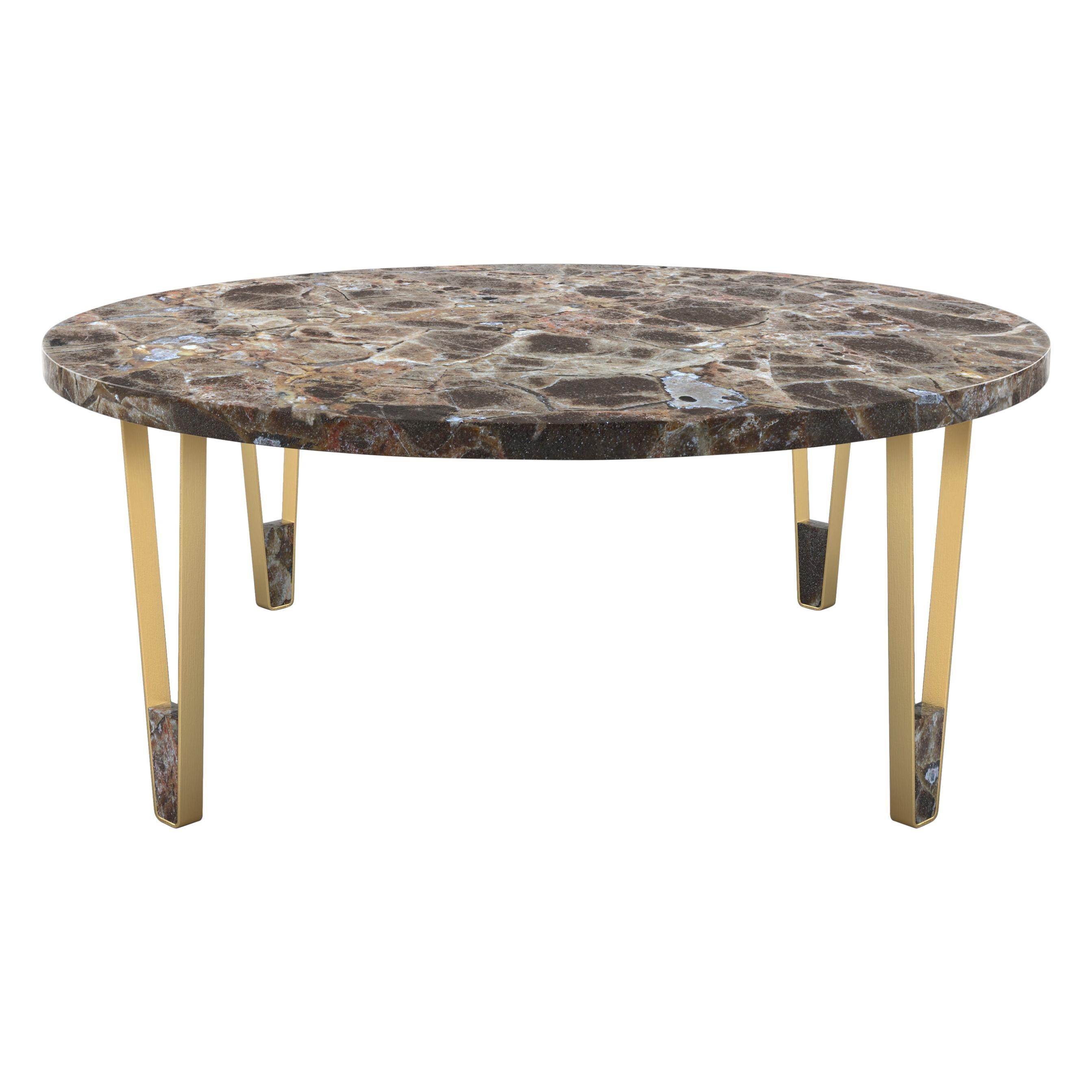 Ionic Round Coffee Table, Dark Emperador, Insidherland by Joana Santos Barbosa