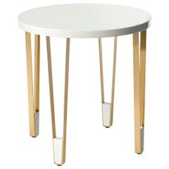 Ionic Round Side Table, White and Brass, InsidherLand by Joana Santos Barbosa