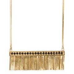 18 Karat Yellow Gold Necklace Fringed Pendand Black Diamond Pavè