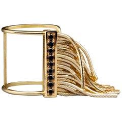 Iconic Design 18K Yellow Gold Open Ring Black Diamonds Pavé Bar from Iosselliani