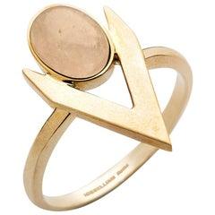 Iosselliani Engagement Pink Opal V-Shaped Ring