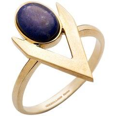 Iosselliani Fine Gold Lapis Lazuli V-Shaped Ring