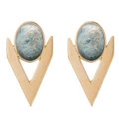 Iosselliani Gold Aquamarine Earrings