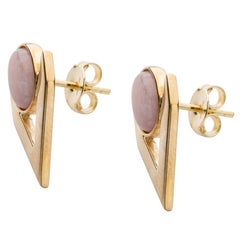 Yellow Gold Pink Opal Cabochon V Earrings from IOSSELLIAN