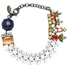 Iosselliani Soldalite White Glass and Zircon Bracelet