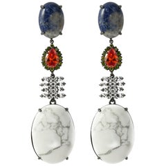 Iosselliani White Turquoise and Sodalite Dangling Earring Pair