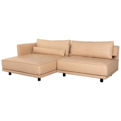 IP Design Cube Lounge Leather Corner Sofa Beige Sofa Couch