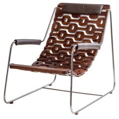 Ipanema Brazilian Contemporary Wood, Metal and Leather Armchair by Lattoog