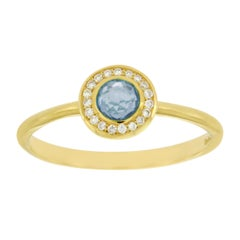 Ippolita 18 Karat Gold Lollipop Mini Blue Topaz and Diamond Ring