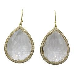 Ippolita 18 Karat Yellow Gold and Diamond Lollipop Quartz Earring