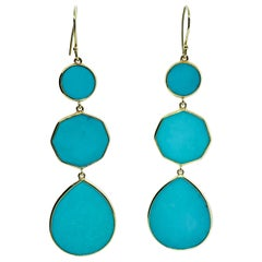 Ippolita 18 Karat Yellow Gold and Turquoise Rock Candy Drop Earrings