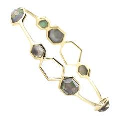 Ippolita 18 Karat Yellow Gold Blue Mother of Pearl Rock Candy Bangle Bracelet