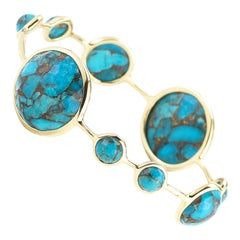 Ippolita 18 Karat Yellow Gold Rock Candy Lollipop Bangle in Bronze Turquoise