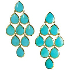 Ippolita 18 Karat Yellow Gold Rock Candy Turquoise Cascade Drop Earrings