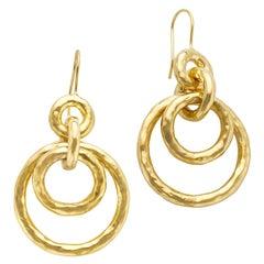 Ippolita 18k Gold Hammered Hoop Drop Earrings