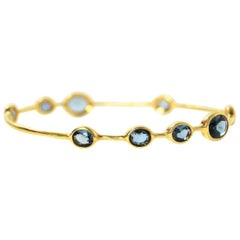 Ippolita 18K & London Blue Topaz 9-Stone Rock Candy Bangle sz 2 rt. $3,495