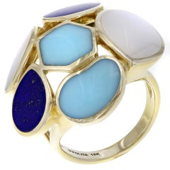Ippolita 18 Karat Yellow Gold Rock Candy Turquoise Mother of Pearl Lapis Ring