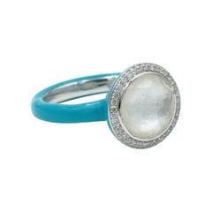 Ippolita Clear Quartz, Mother of Pearl & Diamond Enamel Ring in Sterling Silver
