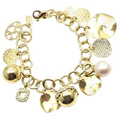 Ippolita Diamond 12 Charm Yellow Gold Link Bracelet