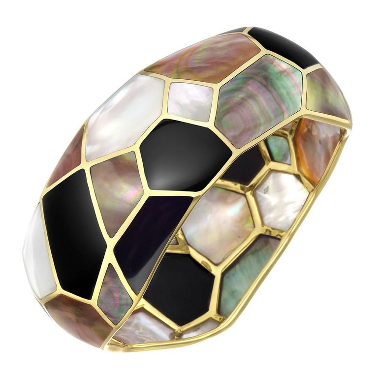 Ippolita Gold, Mother-of-Pearl and Onyx Mosaic Bangle