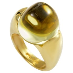 Ippolita Lemon Quartz 18 Karat Yellow Gold Elevated Ring