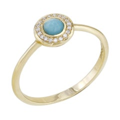 Ippolita Lollipop 18 Karat Yellow Gold Diamond Turquoise Ladies Halo Ring