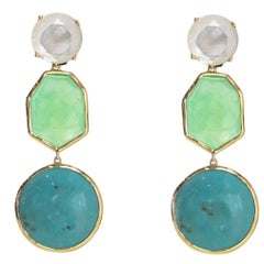 Ippolita Mother of Pearl/Chrysoprase/ Turquoise Rock Candy Gelato Drop Earrings