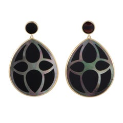 Ippolita Polished Rock Candy 18 Karat Gold Onyx and Mother of Pearl Teardrop