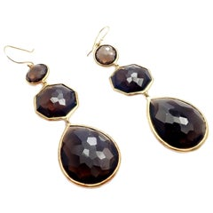 Ippolita Rock Candy Extra Large Smoky Quartz Yellow Gold Drop Earrings