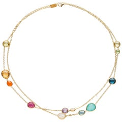 Ippolita Rock Candy Multi Shape Station Necklace in 18 Karat Gold