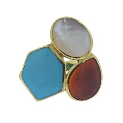 Ippolita Rock Candy Riviera Sky Turquoise Carnelian Gold Ring