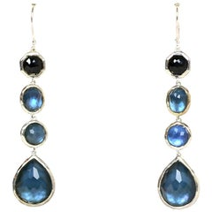 Ippolita Silver Onyx and Blue Mother of Pearl Hanging Drop Earrings