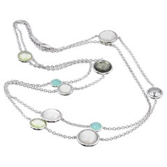 Ippolita Sterling Silver Necklace with Mother of Pearl and Green Link Sections