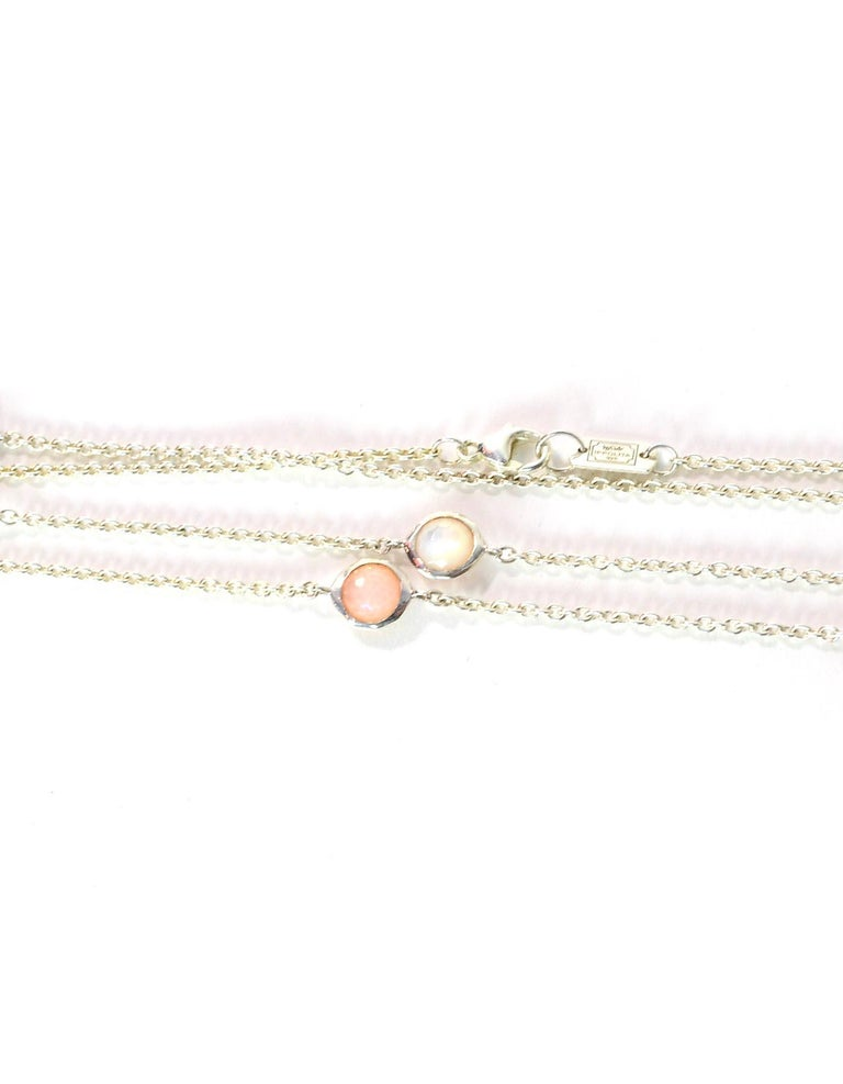 Ippolita Sterling Silver/Peach Quartz/MOP Doublet Wonderland Station Necklace In Excellent Condition For Sale In New York, NY