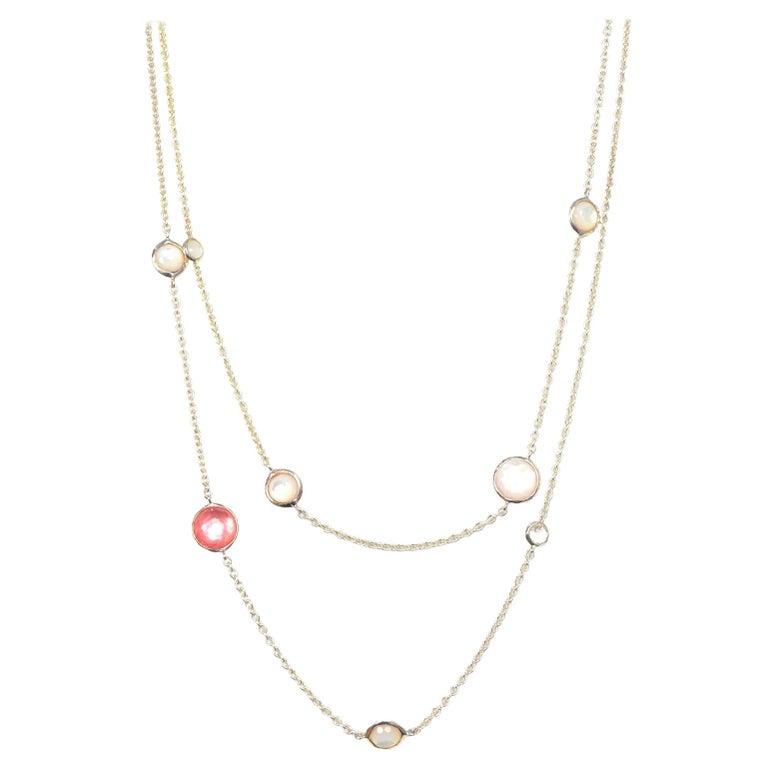 Ippolita Sterling Silver/Peach Quartz/MOP Doublet Wonderland Station Necklace For Sale