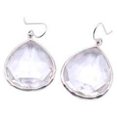 Ippolita Sterling Silver Rock Candy Earrings with Clear Rock Crystal Tear Drop