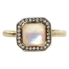 Ippolita Sterling Silver Stella Ring with Mother of Pearl and Diamonds sz 7