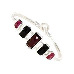 Ippolita Sterling Silver Toggle Bracelet w. Graduated Onyx & Stones