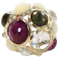 Ippolita Sterling Silver Wonderland Constellation Dome Ring sz 7.5