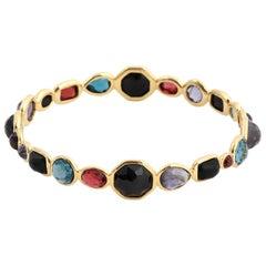 Ippolita Summer Rainbow 18K Yellow Gold Multi Gem Rock Candy Bangle Bracelet