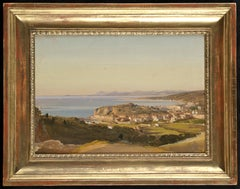 19th Century Landscape Ippolito Caffi View of Nice Oil on Canvas