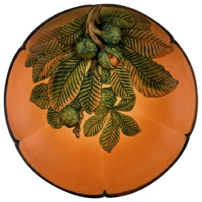 Ipsen's, Denmark, Circular Dish with Chestnuts in Hand Painted Glazed Ceramics