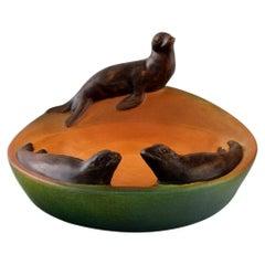 Ipsen's, Denmark, Dish with Sea Lions in Hand Painted Glazed Ceramics, 1930s